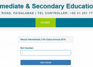Bise Faisalabad Intermediate 1st Year Result 2019