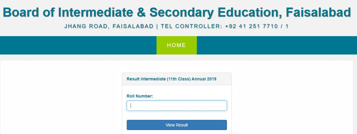 Bise Faisalabad Intermediate 1st Year Result 2019