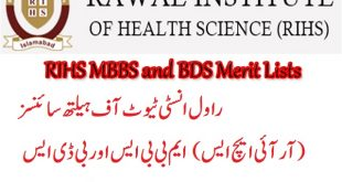 Rawal Institute of Health Sciences (RIHS) MBBS and BDS Merit Lists 2019