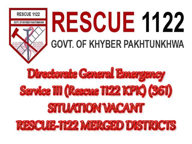 Directorate General Emergency Service III Rescue 1122 KPK Jobs