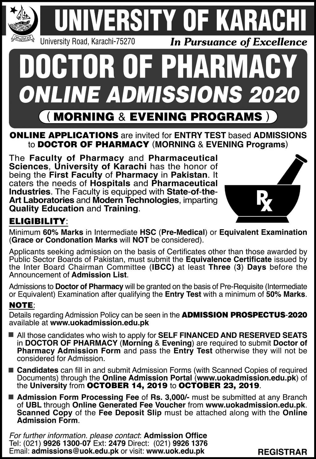 UNIVERSITY OF KARACHI DOCTOR OF PHARMACY ONLINE ADMISSIONS 2020