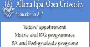 AIOU begin appointing part-time tutors in Pakistan