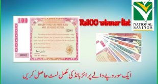 Rs. 100/- Prize Bond Draw Results