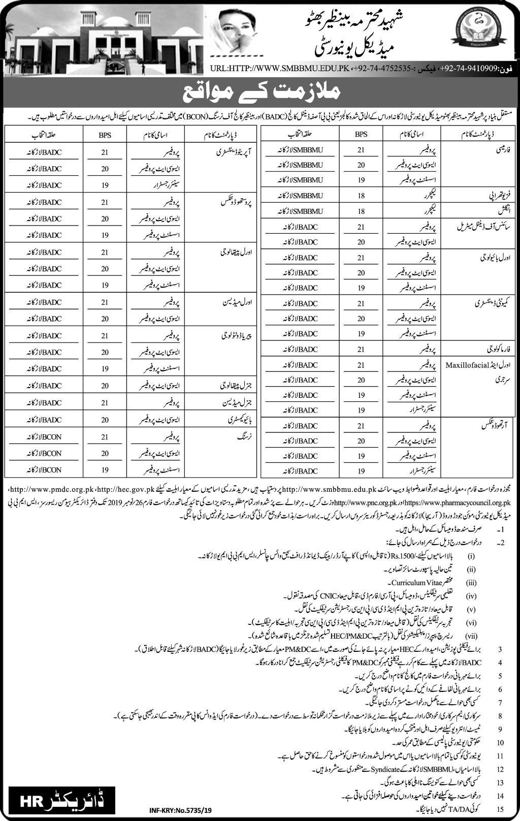 Shaheed Mohtarma Benazir Bhutto Medical University Jobs 6th November 2019