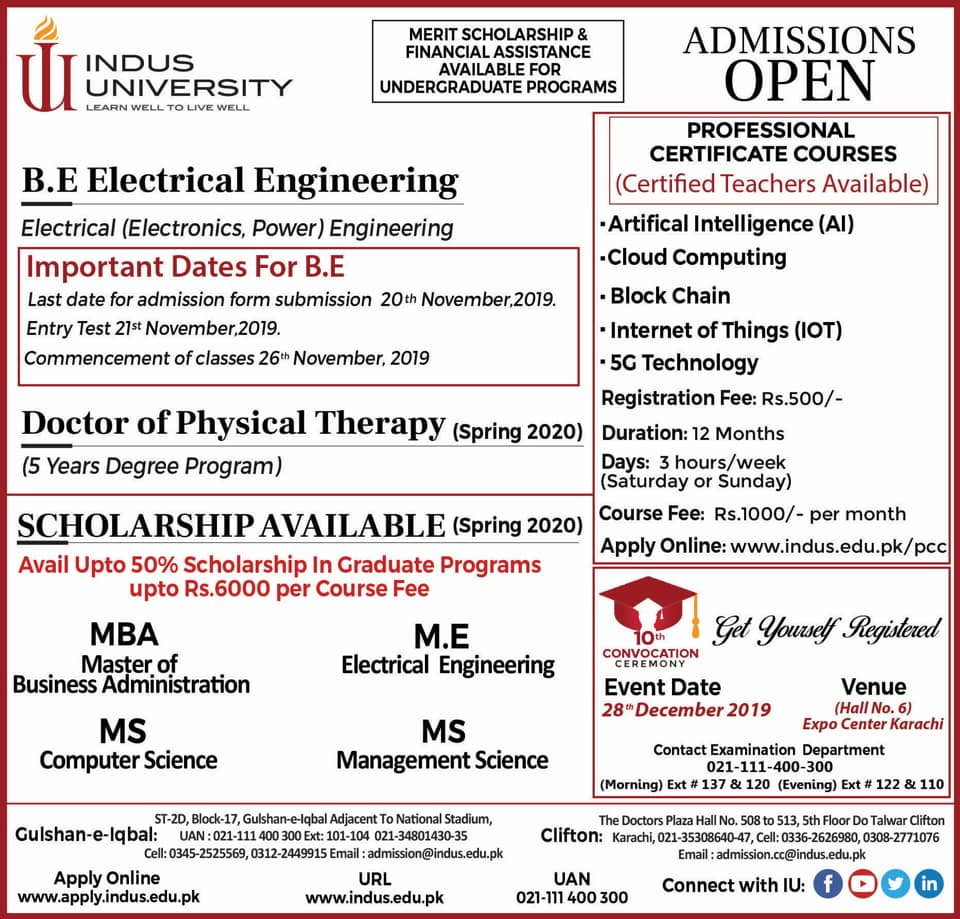 Indus University Karachi Admission 2020
