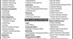 Pakistan Kidney & Liver Institute & Research Center PKLI & RC Jobs November 2019