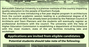 Admission Notice for Five Year Bachelor Program in Architecture (B.Arch)