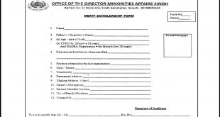 Sindh Directorate Minorities Affairs department Merit Scholarship 2019-20 Form