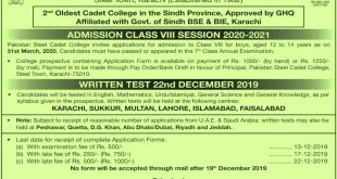 PAKISTAN STEEL CADET COLLEGE CLASS VIII ADMISSION SESSION 2020-2021