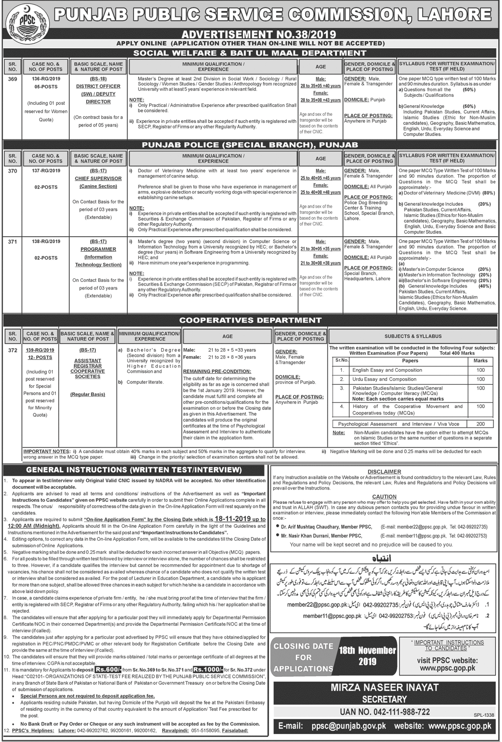 PPSC Punjab Police Special Branch Jobs