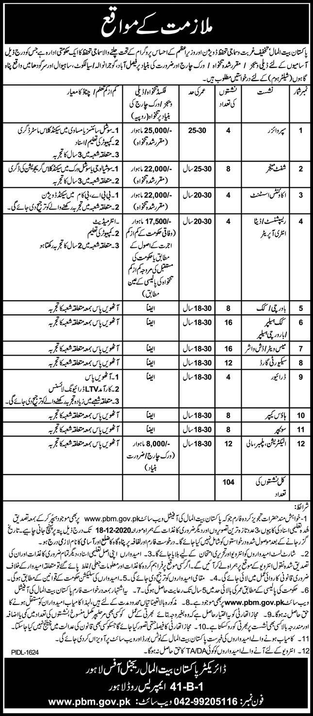 Pakistan Bait ul Maal Panahgahs Regional Office Faisalabad Jobs 4th December 2020