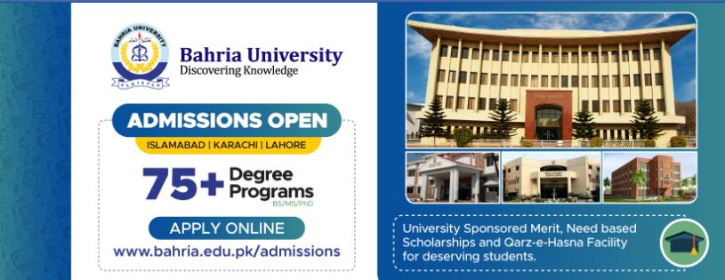Bahria University Undergraduate programs Graduate/Doctoral programs Admissions Spring 2020