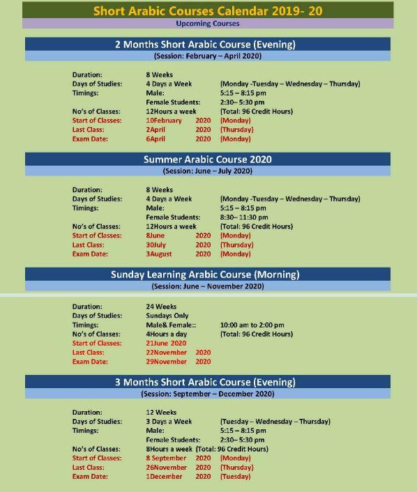International Islamic University Islamabad Short Arabic Courses Admission