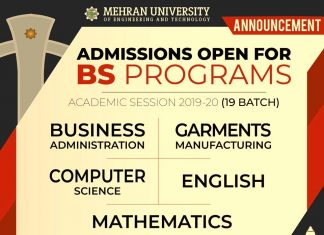 MUET BS PROGRAMS ADMISSIONS SPRING 2020
