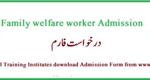 Family welfare worker (FWW) course Admission