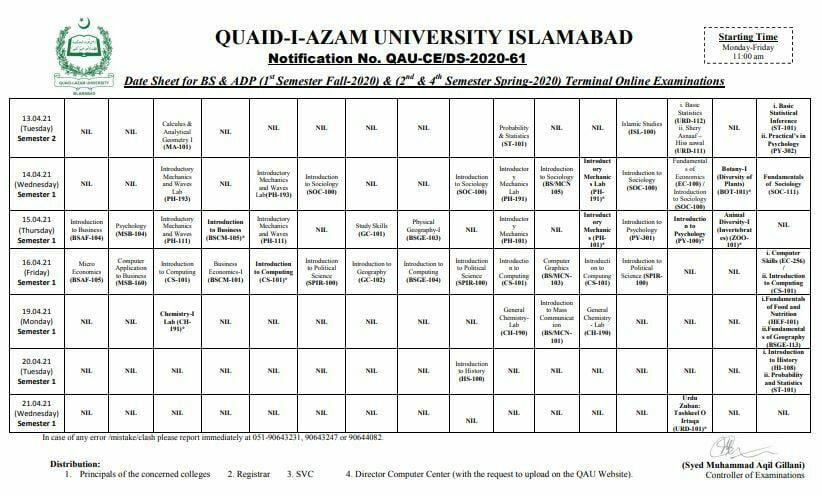 Quaid e Azam University(QAU)slamabad BS & ADP Date Sheet 2021