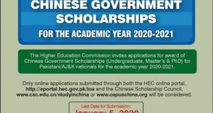 CHINESE GOVERNMENT SCHOLARSHIPS FOR THE ACADEMIC YEAR 2020-2021