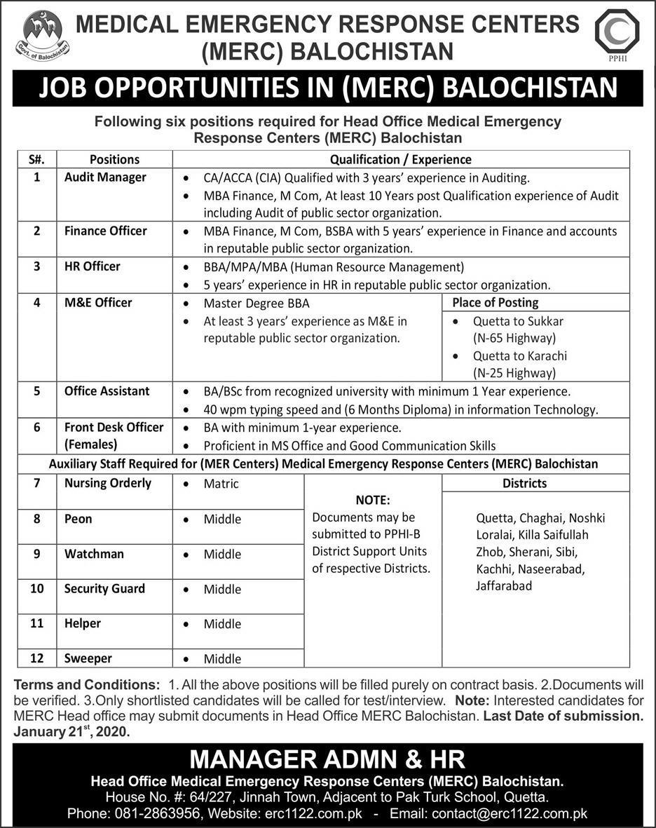 Medical Emergency Response Centers (MERC) Balochistan Jobs