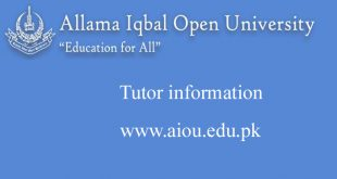Allama Iqbal Open University (aiou) Tutor information