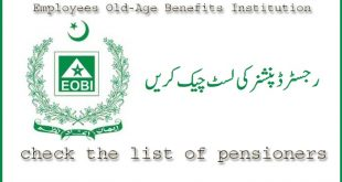 Employees Old-Age Benefits Institution (EOBI) list of Pensioners