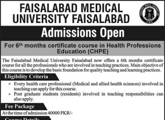 FMU Faisalabad certificate course in Health Professions Education (CHPE)Admission