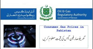 Consumer Sui Gas Prices in Pakistan August 2021
