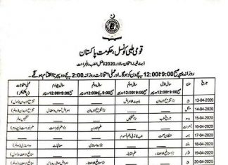 National Council for Tibb (NCT) Date Sheet ,Roll Number slips and Result 2020