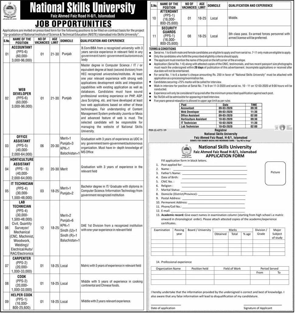 National Institute of Science & Technical Education (NISTE) Islamabad Jobs 2020