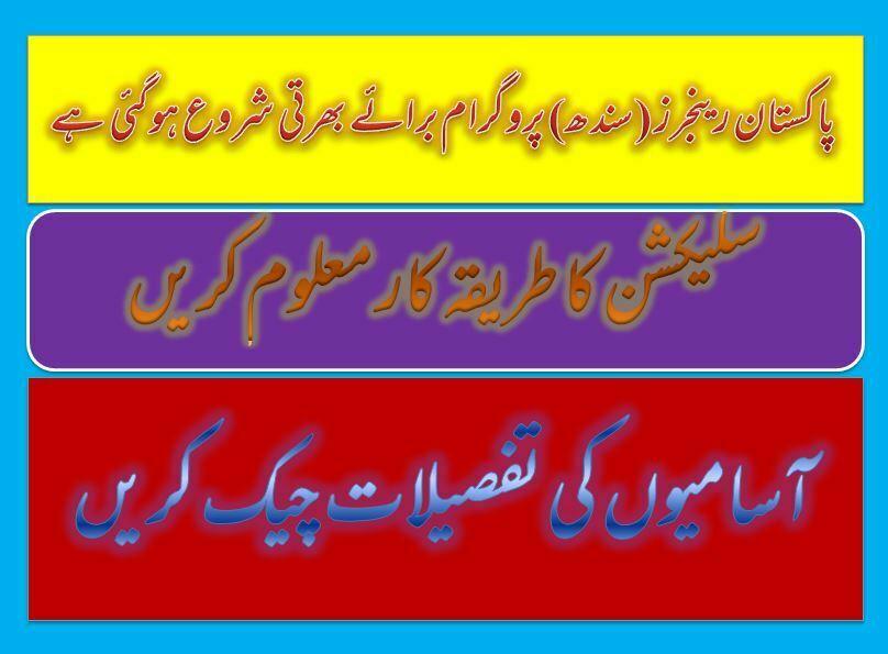 Pakistan Ranger(Sindh) Program Jobs 2020