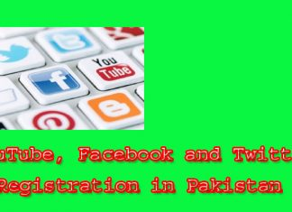 YouTube, Facebook and Twitter Registration in Pakistan