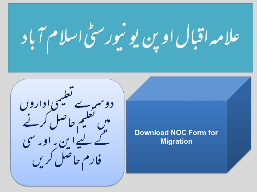 Allama Iqbal Open University (AIOU) Islamabad Download NOC Application Form
