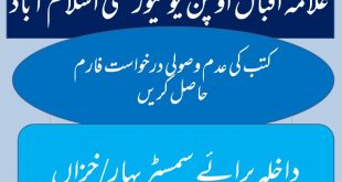 AIOU Application for Undelivered Books