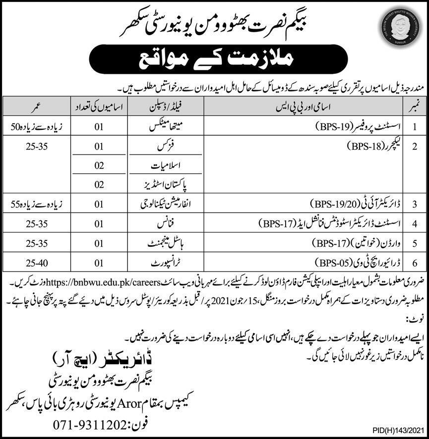 Begum Nusrat Bhutto Women University (BNBWU) Sukkur Jobs 2021