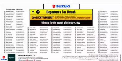 SUZUKI 200 UMRAH TICKET WINNER MARCH 2020