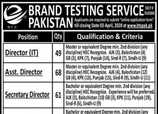 BRAND TESTING SERVICES PAKISTAN JOBS 2020