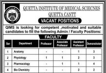 Quetta Institute of Medical Sciences (QIMS) JOBS 2020
