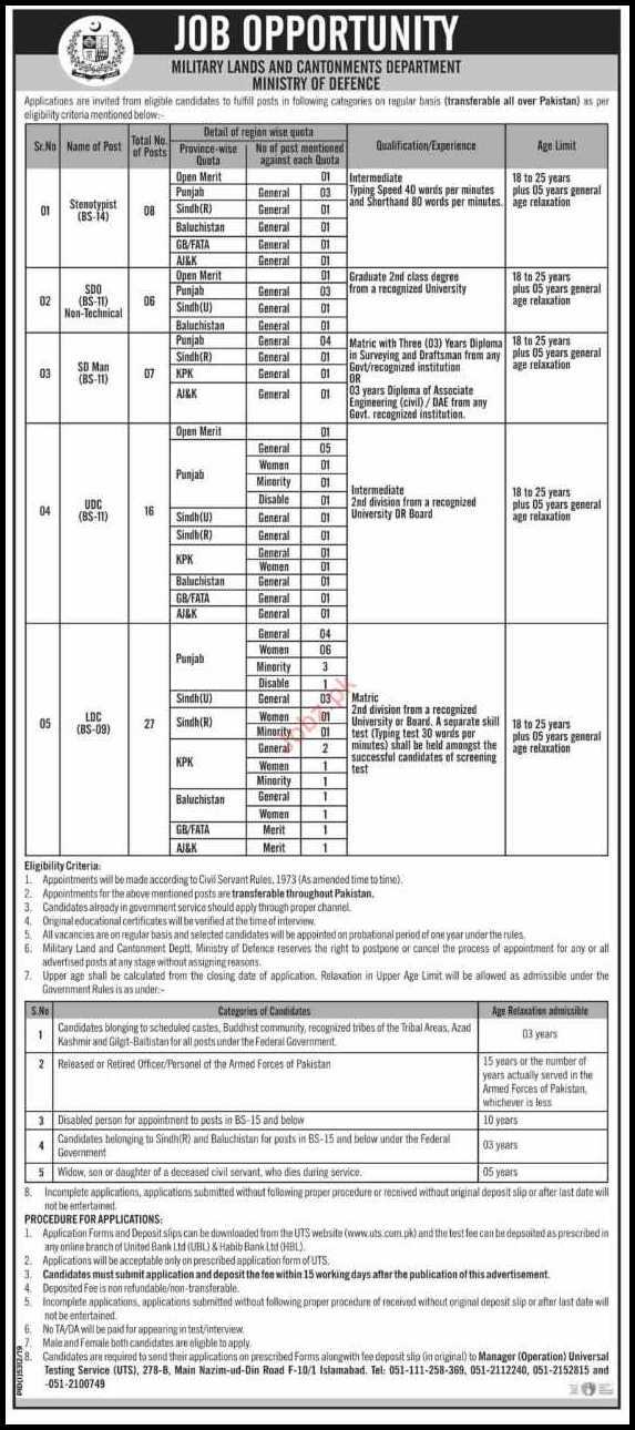 Military Lands and Cantonments (MLC) Jobs 2020