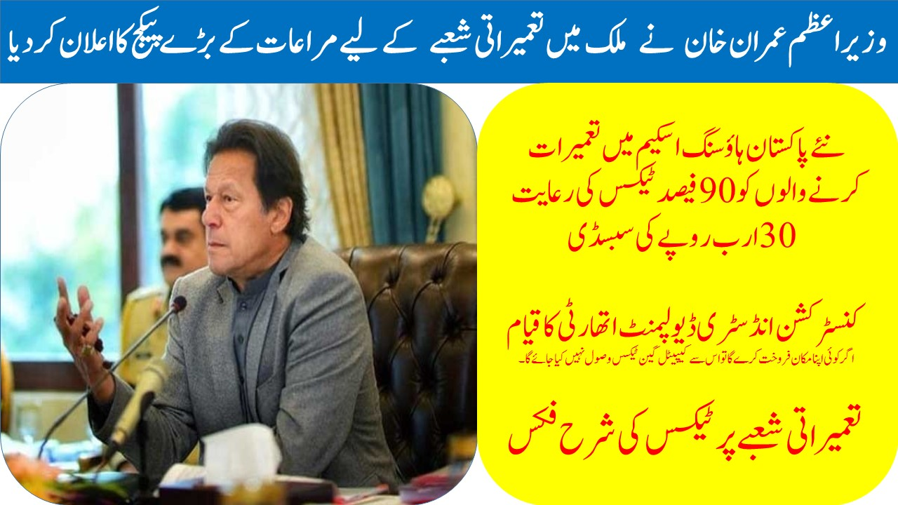 PM Imran Khan construction sector Relief Package