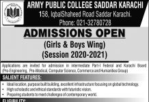 Army Public College Saddar Karachi Admission 2020