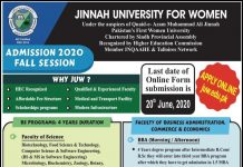 Jinnah University For Women (JUW) Fall Admission 2020