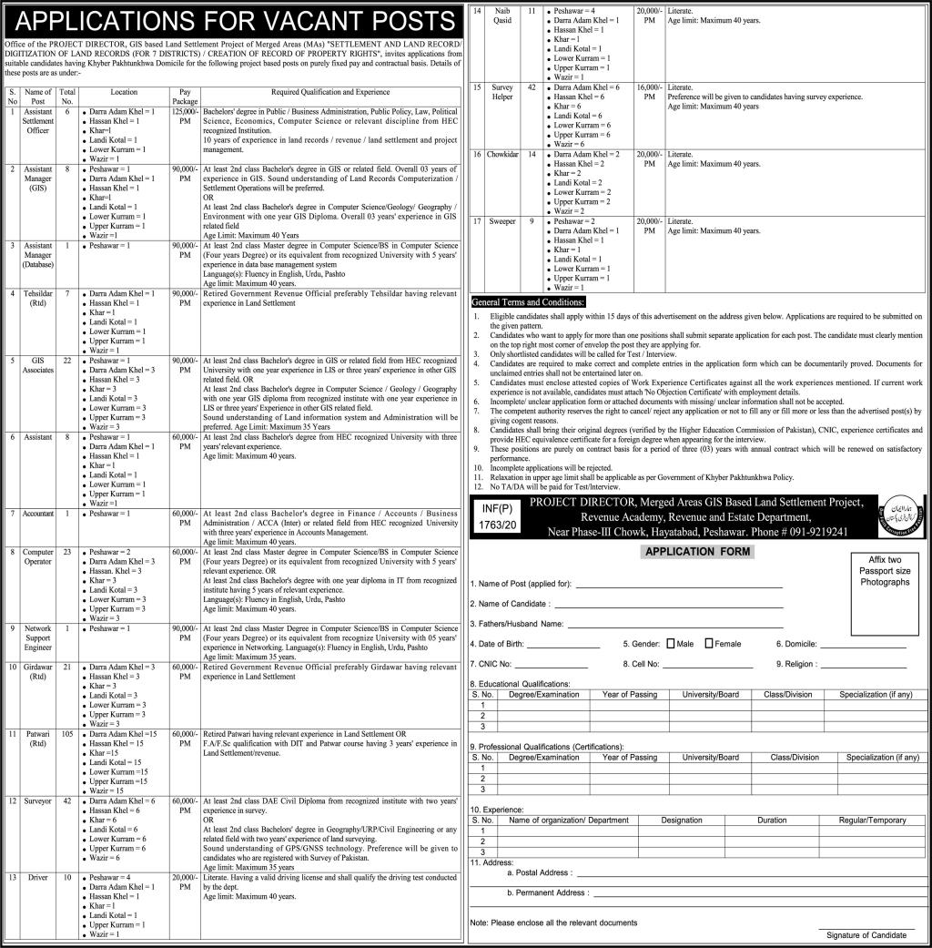 GIS-Based Land Settlement Project Jobs 21st May 2020