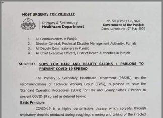 Punjab barber and beauty Salon SOPs issued