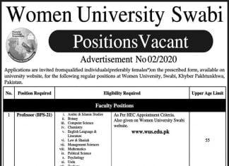 Women University Swabi, Swabi Positions Vacant Advertisement No 02/2020