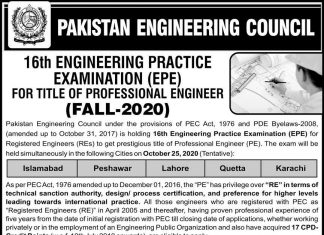 PAKISTAN ENGINEERING COUNCIL (PEC) PRACTICE EXAMINATION