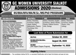 GC WOMEN UNIVERSITY SIALKOT ADMISSION 2020