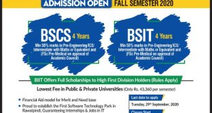 Barani Institute of Information Technology(BIIT) Fall Admission 2020