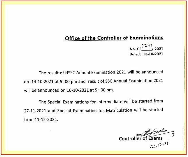BISE Rawalpindi HSSC Part II Annual Result 2021