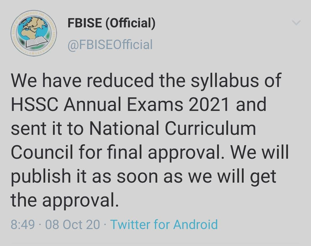 FBISE Syllabus of HSSC Annual Exams 2021