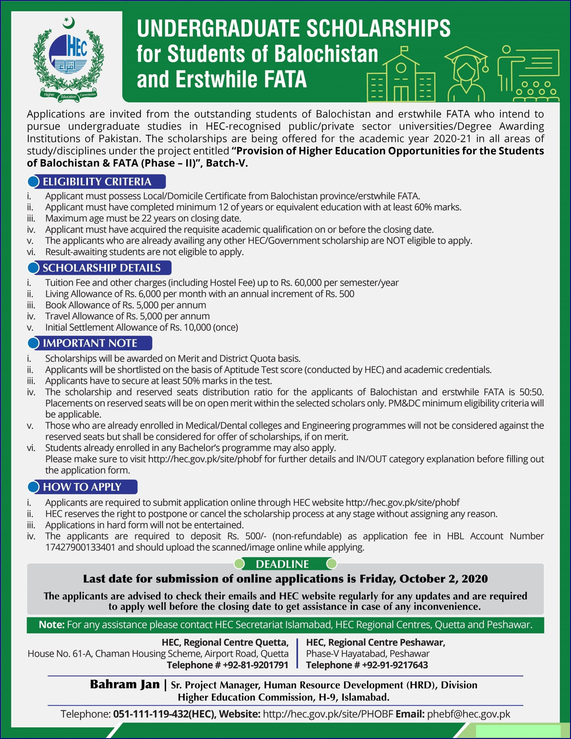 HEC Undergraduate Scholarships for Students of Balochistan & FATA