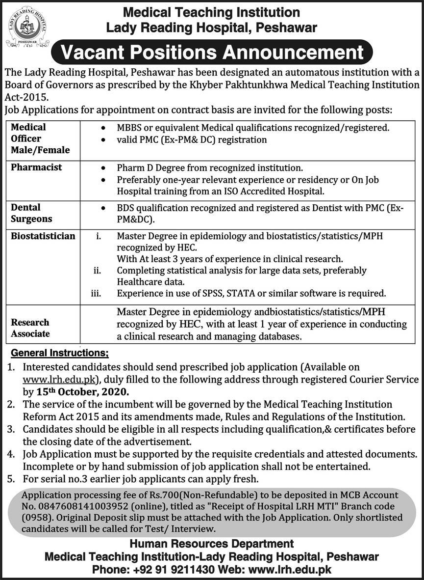 Lady Reading Hospital Medical Institute Peshawar Jobs 2nd October 2020